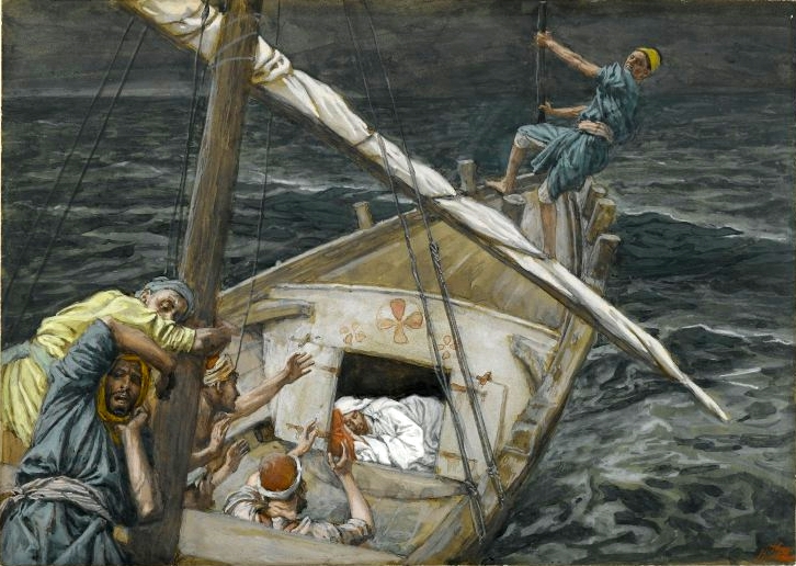 Jesus sleeps on the boat during the storm