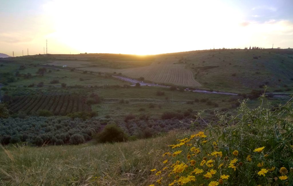 sunset in Galilee, near Tabgha